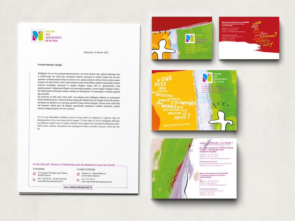 Identité graphique pour la Maison des Adolescents de la Loire et déclinaison sur tous les supports (flyers, papeterie, affiche). Eric Martin ©2014