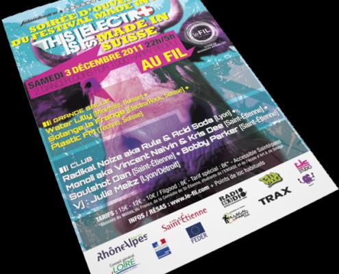 Création d'une affiche et d'un flyer pour l'association Saintelectro à l'occasion du Festival Made in Suisse au Fil. Eric Martin ©2014