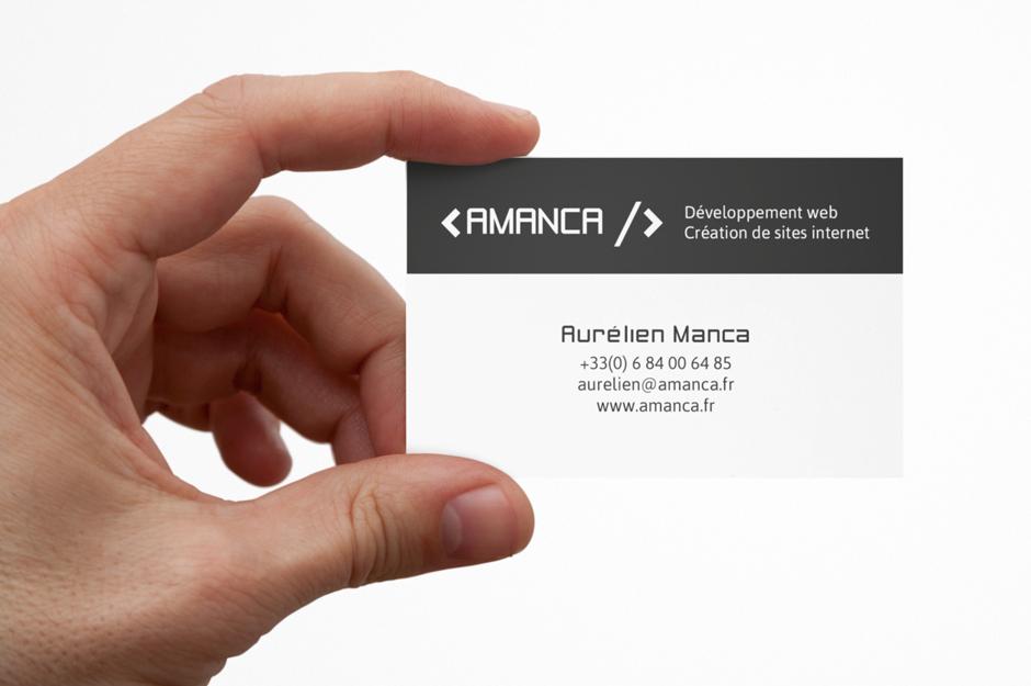 Evolution du logo et conception graphique de la carte de visite d'Aurélien Manca. Eric Martin ©2014