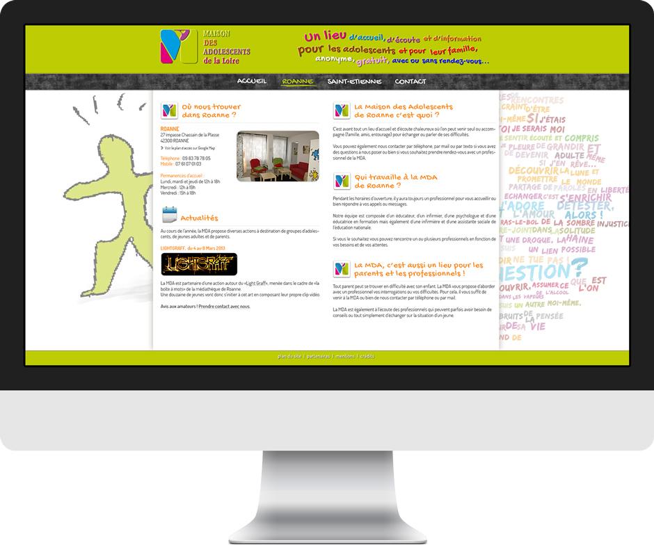 """Conception graphique d'un """"mini"""" site internet pour la Maison des Adolescents de la Loire. Eric Martin ©2014"""