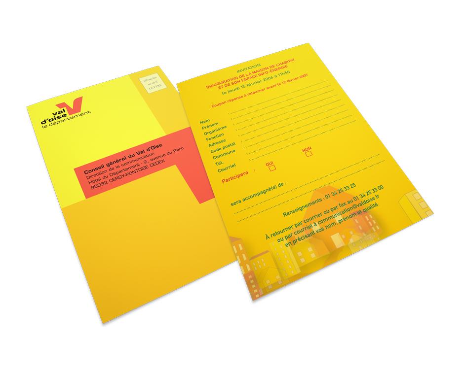 Création, pour le Conseil général du Val d'Oise, d'un dépliant 3 volets, d'un carton d'invitation avec coupon réponse et d'insertions presse pour la Maison de l'Habitat. Eric Martin ©2014