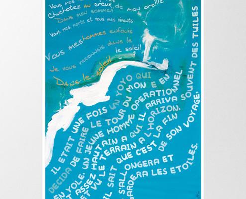 Conception d'affiches et de cartes postales. Travail réalisé à partir des textes écrits par les détenus de la Maison d'arrêt de la Talaudière dans le cadre de l'atelier Paroles et Musiques en liberté. Eric Martin ©2014