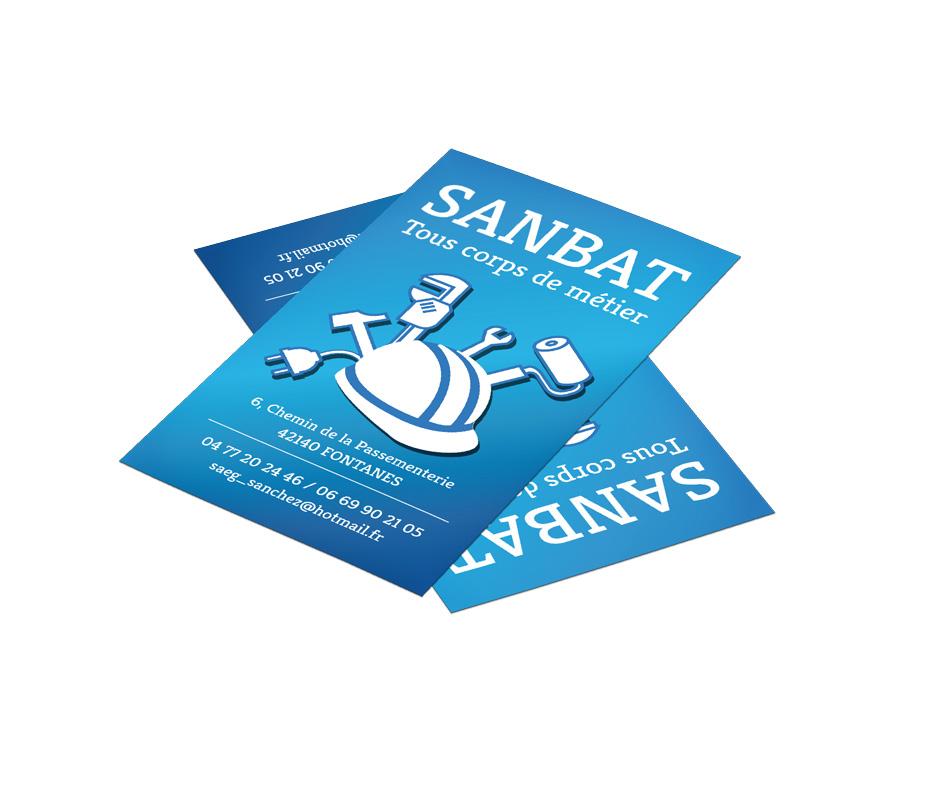 Création d'un logotype, de cartes de visite et d'un modèle de devis et de facture dans Microsoft Excel pour la société Sanbat. Eric Martin ©2014
